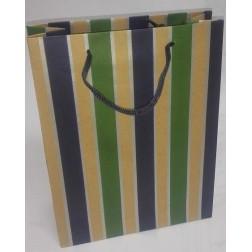 Dárková taška papírová MODRO-ZELENÝ PRUH š.18,5cm/v.24,5cm/hl.7,5cm