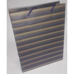 Dárková taška papírová MODRÝ PRUH š.18,5cm/v.24,5cm/hl.7,5cm