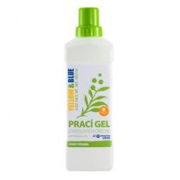 Prací gel z mýdlových ořechů s rostlinnou silicí POMERANČ 1l Yellow+Blue