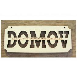 DOMOV dřevěná cedulka 1ks