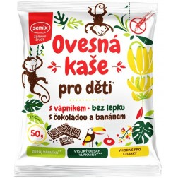 Kaše Semix Ovesná PRO DĚTI s vápníkem čokoláda a banán 50g