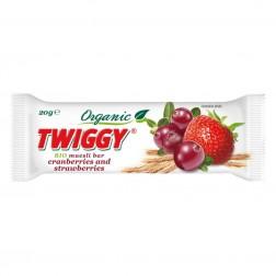 Tyčinka Twiggy müsli BIO brusinka+jahoda 20g