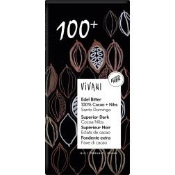 VIVANI hořká 100%  s kousky kakaa BIO 80g